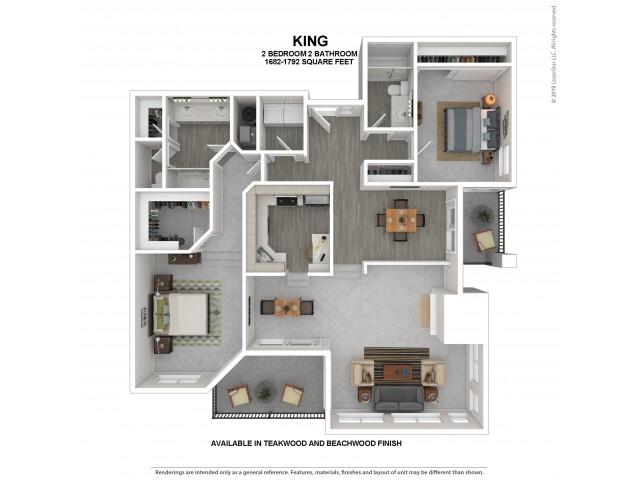 King Floor Plan | Beachwood | 2 Bedroom 2 Bath Apartment Floor Plan | Apartments For Rent in Kirkland WA | The Carillon Apartment Residences