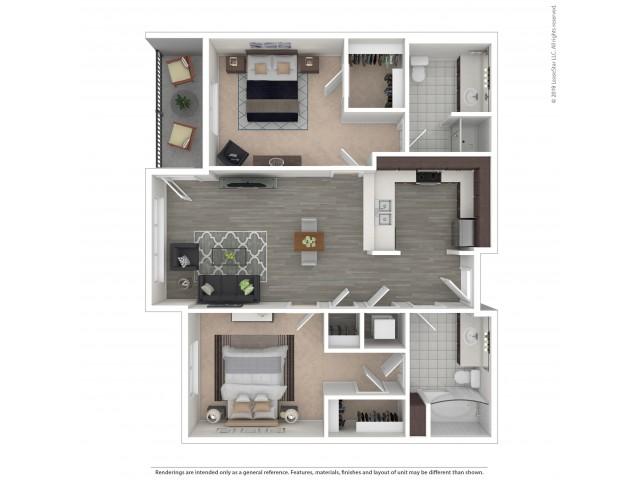 2 Bedroom Floor Plan | Apartments For Rent In Seattle, WA | Pratt Park Apartments