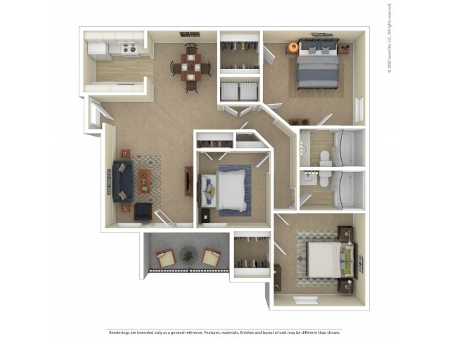 Three Bedroom Floor Plan | Apartments For Rent In Commerce City, CO | Village Crest Apartment Homes