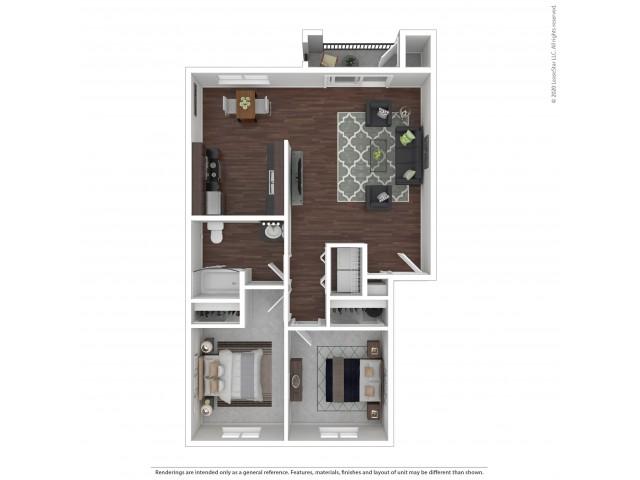 2 Bedroom Floor Plan | Apartments For Rent In Bend, OR| Cedarwest Apartments