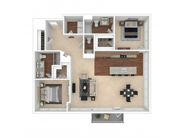The Collins Floor Plan   Floor Plan 15   Crossroads at the Gulch   Nashville Apartments For Rent