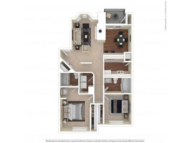 Collingwood Two Bedroom Two Bath 934 - 943 Square Feet | Westview Village Apartments