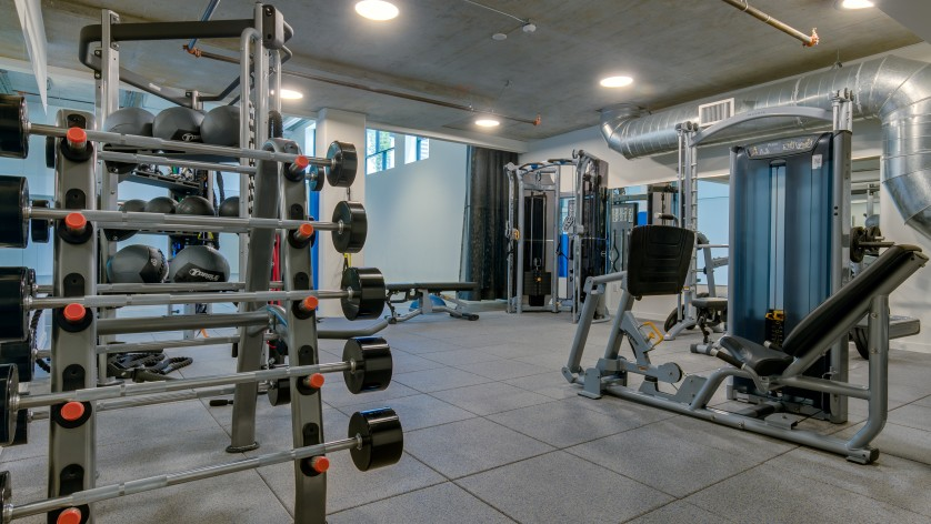 State-of-the-Art Fitness Center with Free Weights   Augusta Apartments   Seattle Washington Apartments