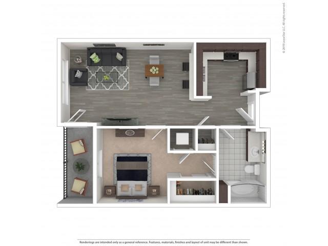 1 Bedroom Floor Plan | Apartments For Rent in Seattle, WA | Pratt Park Apartments