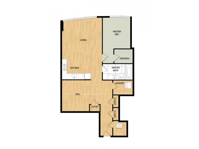 Tower One Bedroom One Bath with Den - Birch