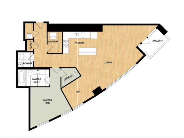 Tower One Bedroom One Bath - Maple