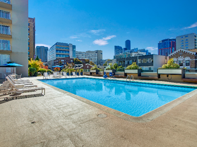 Panorama Apartments Pool and Deck Area with Seattle Skyline View
