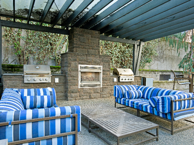 Outdoor Courtyard with Fireplace and BBQs