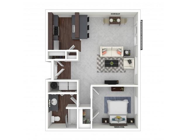 1 Bedroom Floor Plan | Dupont Washington Apartments | Trax at DuPont Station