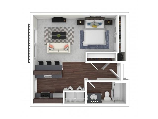 Studio Floor Plan | Dupont Wa Apartments | Trax at DuPont Station