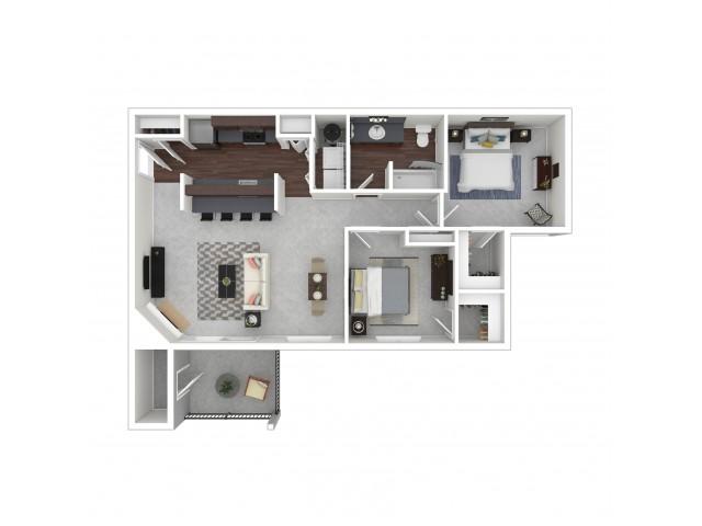 2 Bedroom Floor Plan | Dupont Wa Apartments | Trax at DuPont Station