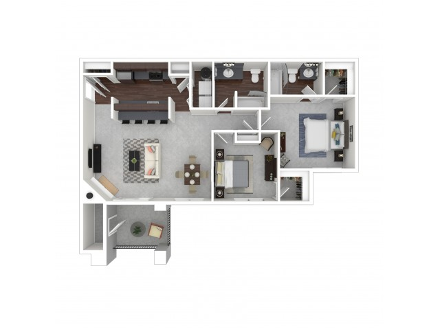 2 Bdrm Floor Plan | Apartments For Rent In Dupont Washington | Trax at DuPont Station