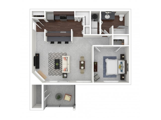 1 Bdrm Floor Plan | Studio Apartments In Dupont Wa | Trax at DuPont Station