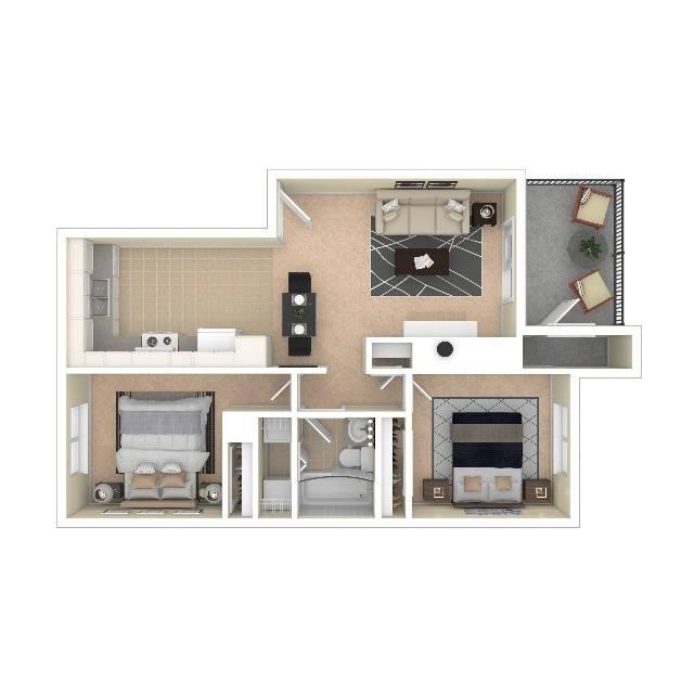 The Aurora Floor Plan | Two Bedroom One Bath | The Argyle Apartments