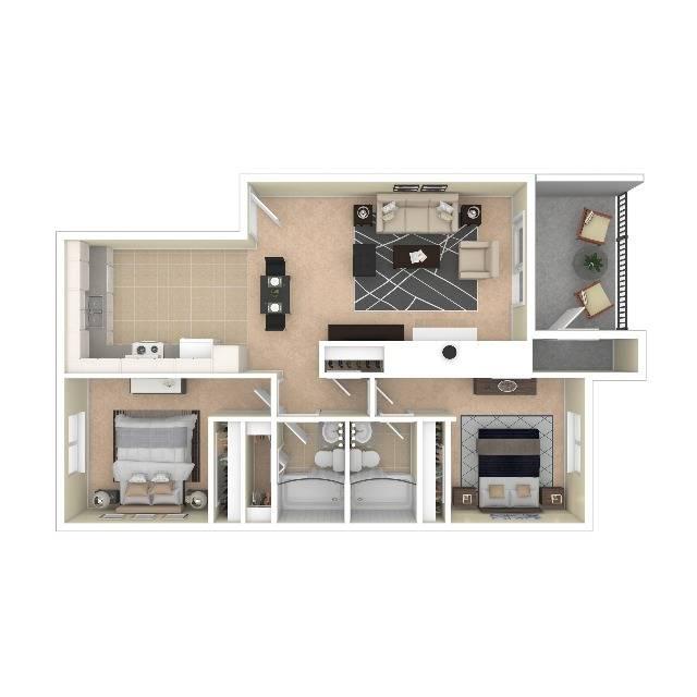 The Breeze Floor Plan | One Bedroom One Bath | The Argyle Apartments