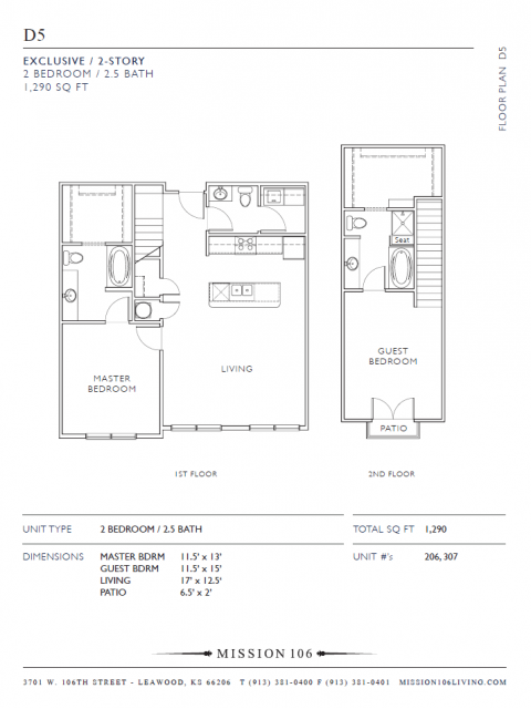 2 Bdrm Floor Plan | Apartments in Leawood Kansas | Mission 106
