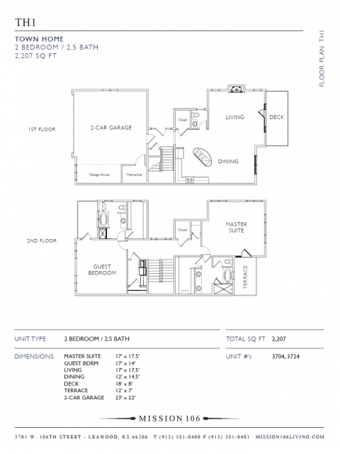 2 Bedroom Floor Plan | Apartments for Rent in Leawood KS | Mission 106