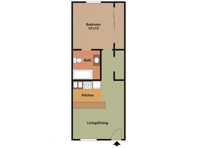 1 Bedroom Studio - 550 Sq