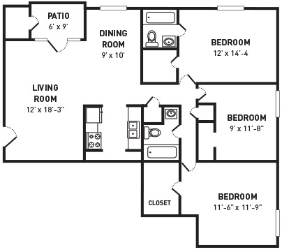 3 Bedroom 2 Bath 1110 Sq Ft