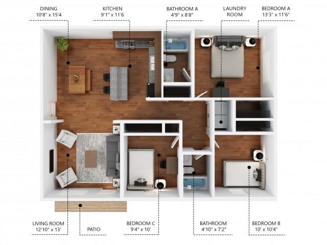 Premium 3 Bedroom Apartment Unit. Rent by Bed or Full Unit.
