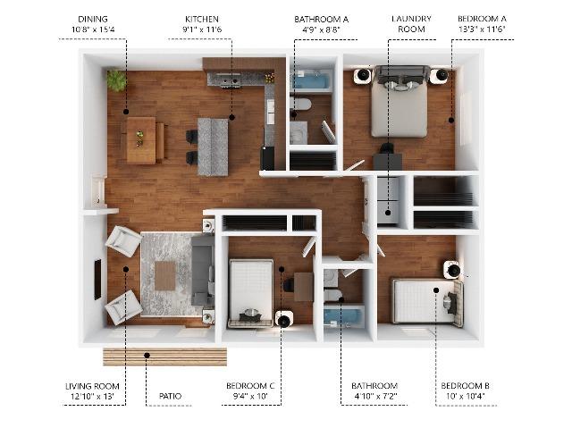 2Bedroom 2Bathroom FLEX Space