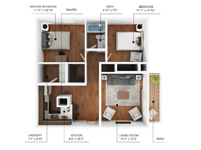 2 Bedroom. Rent by Bed or Full Unit.