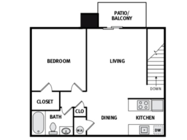 One Bed One Bath 725 Square feet