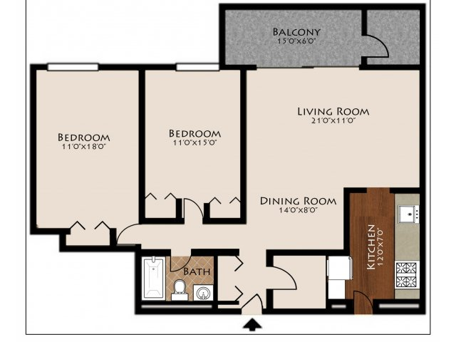 2 Bed 1 Bath Floorplan