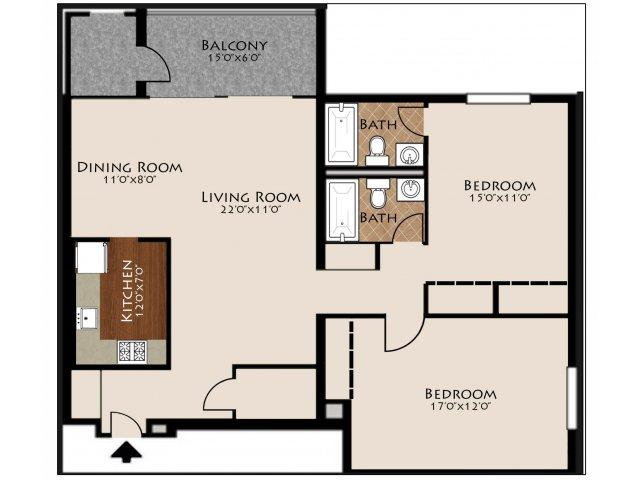 2 Bed 2 Bath Floorplan