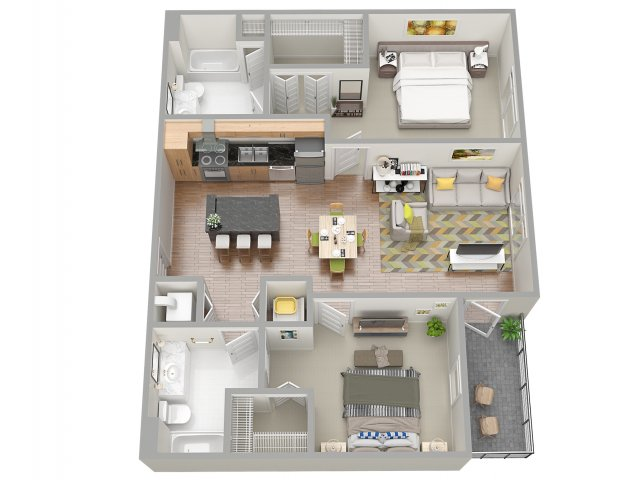 3D Floor Plan 6 | Clearwater Apartments | The Nolen