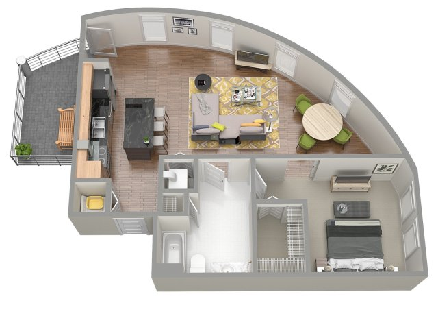 3D Floor Plan 4 | Luxury Apartments Clearwater Fl | The Nolen