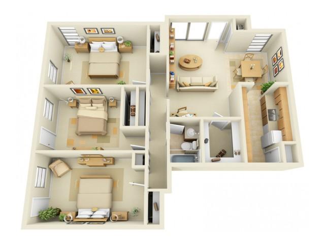 3 Bedroom 1 Bath Floorplan with Porch