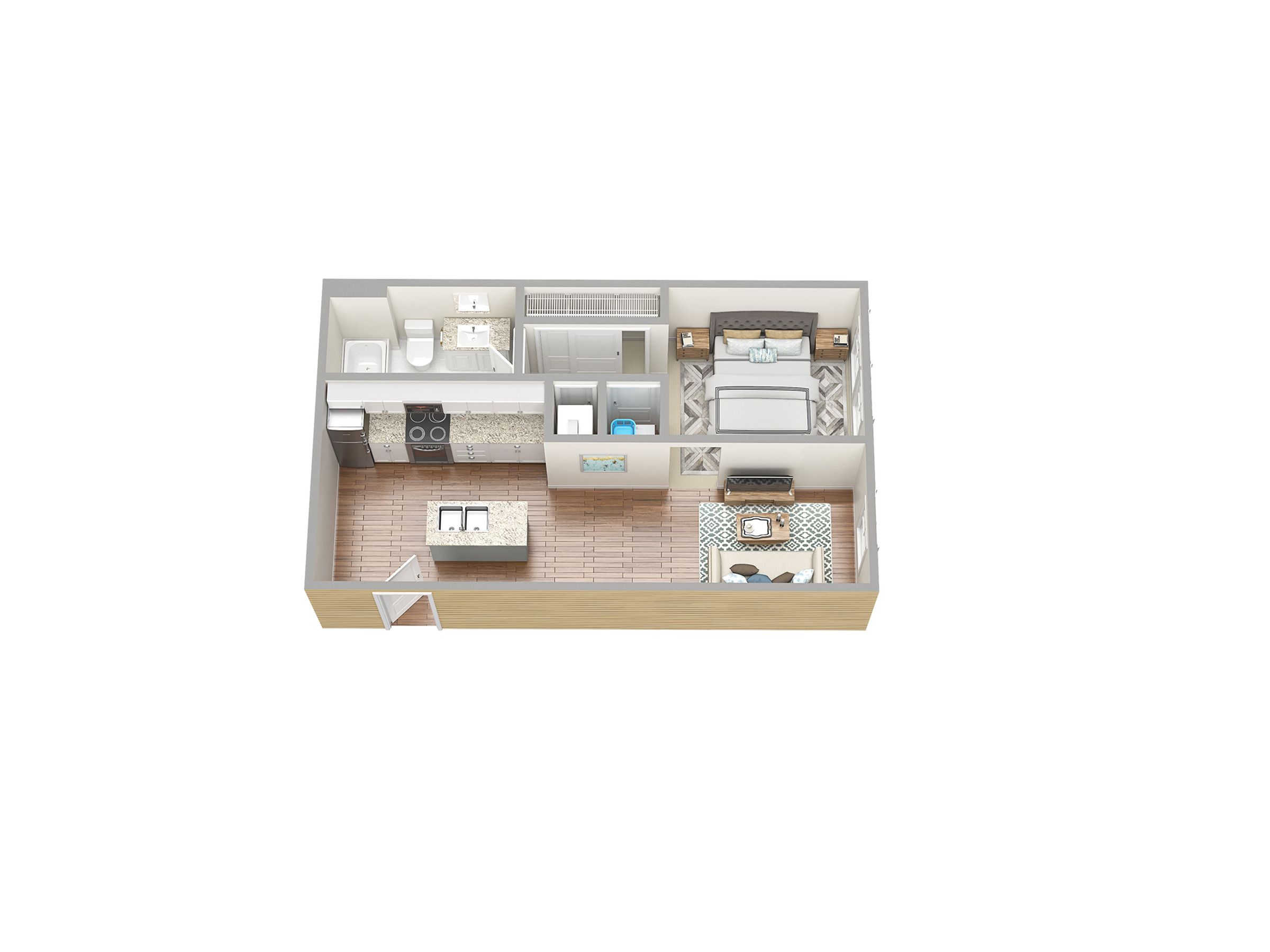 1 Bedroom Floor Plan | Fort Myers Florida Apartments | Mosaic at the Forum