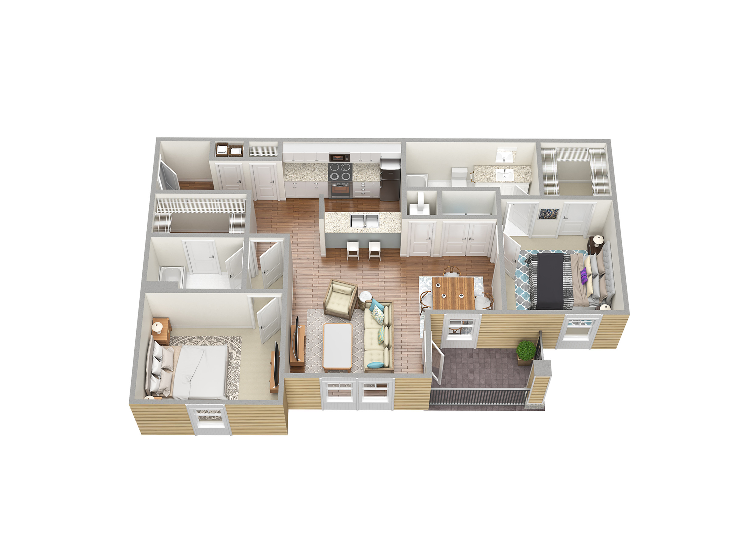 2 Bedroom Floor Plan | Fort Myers Apartments | Mosaic at the Forum