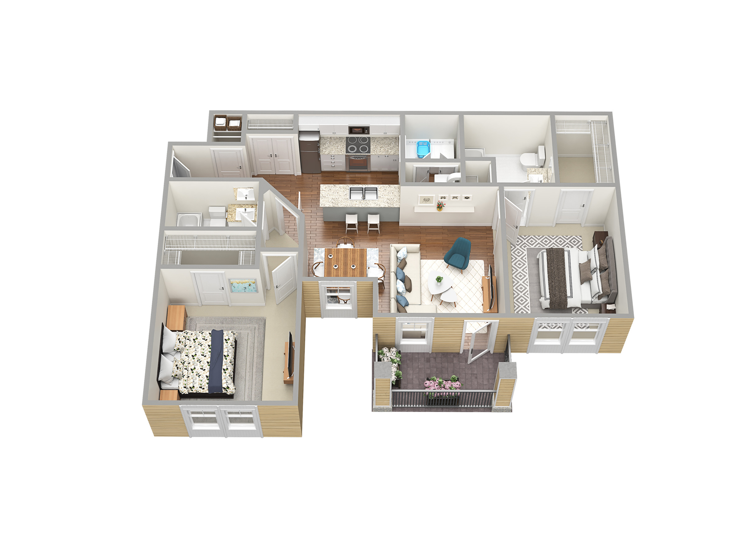 2 Bdrm Floor Plan | Apartments Fort Myers Fl | Mosaic at the Forum
