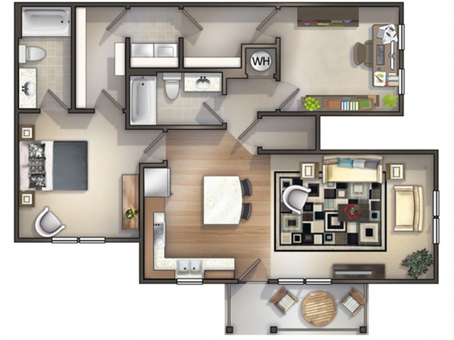 1 Bedroom with Office
