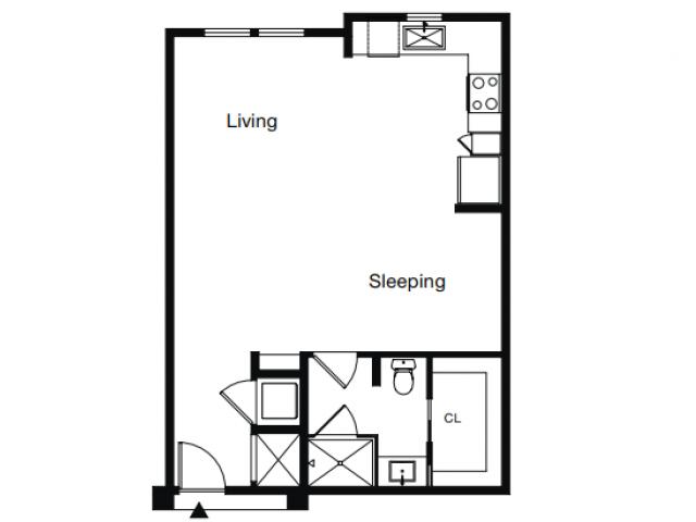 Studio Floor Plan | Luxury Apartments Sarasota Fl | ARCOS