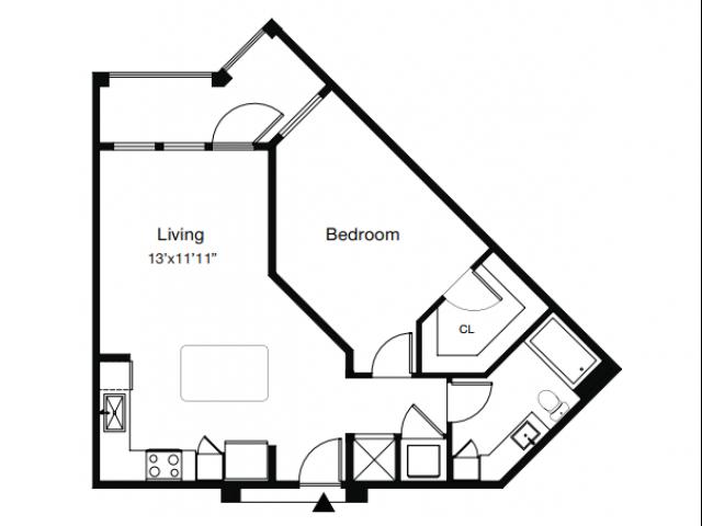 1 Bdrm Floor Plan | One Bedroom Apartments Sarasota Fl | ARCOS