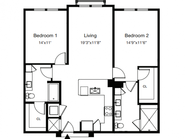 2 Bedroom Floor Plan | Luxury Apartments Sarasota Fl | ARCOS