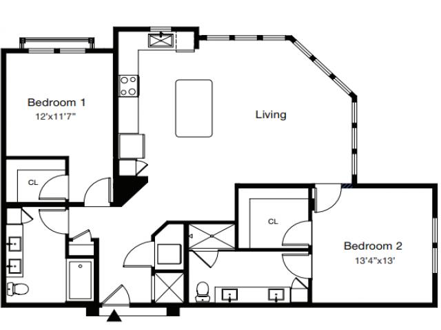 2 Bdrm Floor Plan | Sarasota Apartments | ARCOS