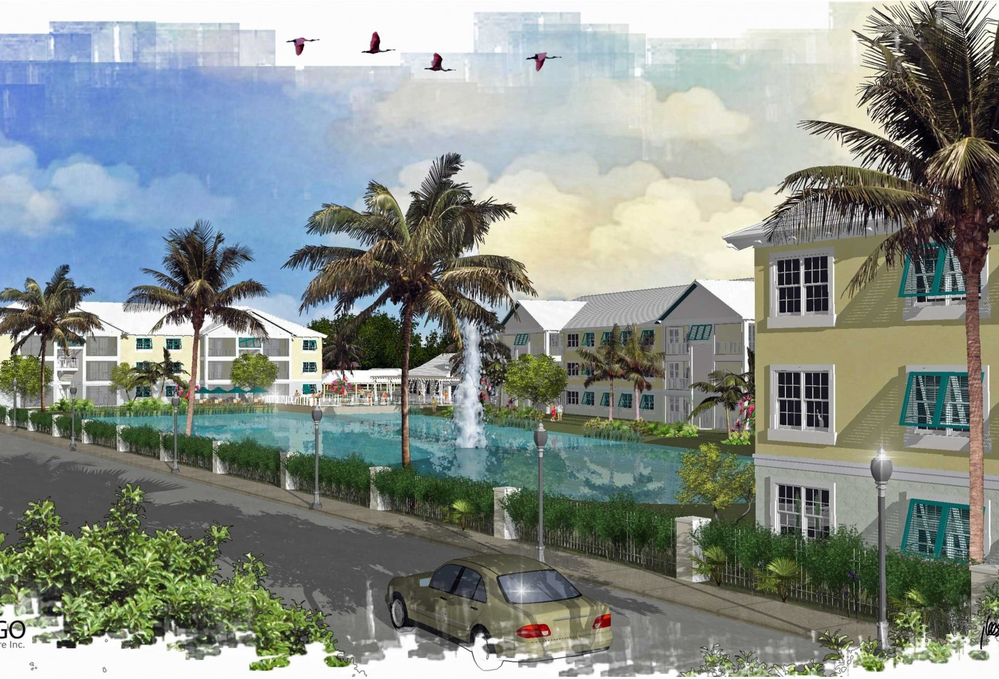 Graphic rendering of the community pool surrounded by apartment buildings.