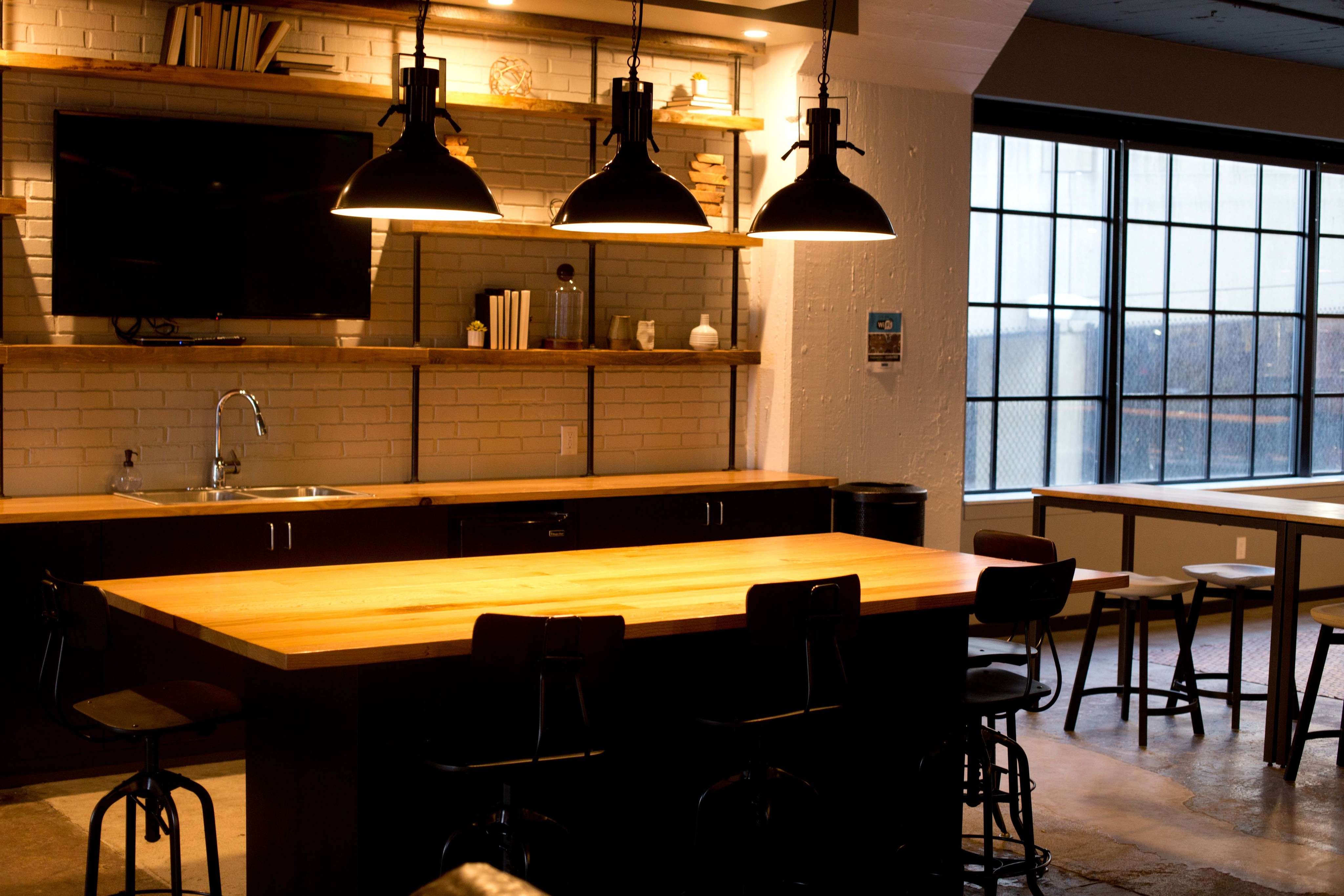 Indoor bar and kitchenette area