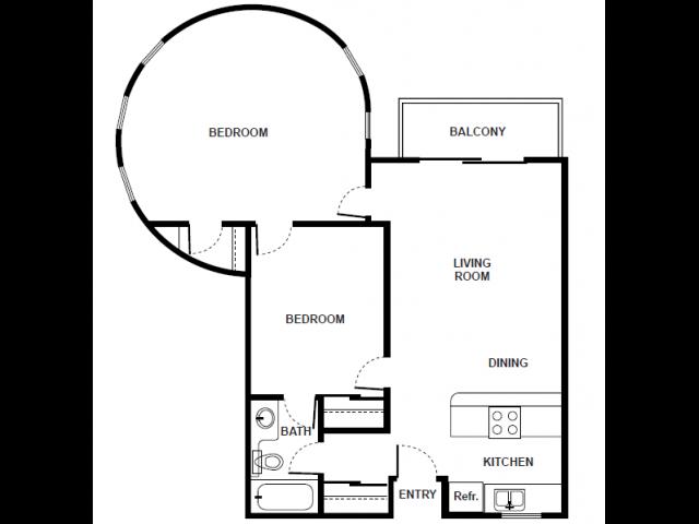 2 Bedroom 1 Bath Floorplan avaiable soon