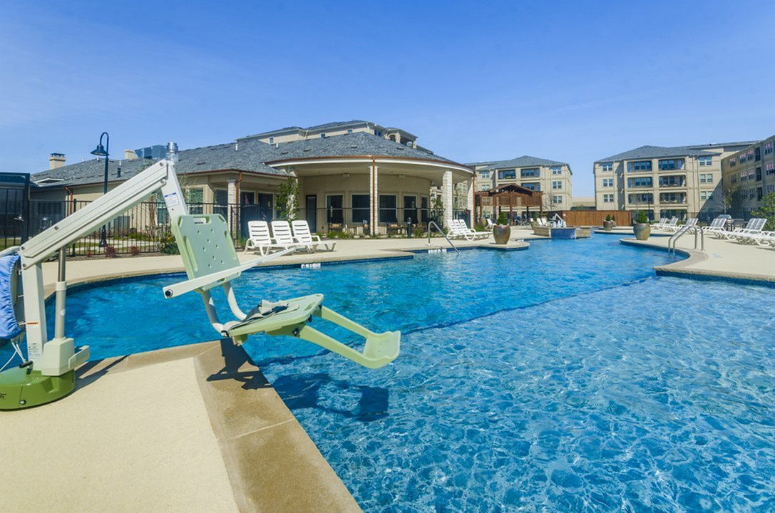 Image of Luxurious, Resort-Style Swimming Pool complete with Heated Spa and ADA lift for The Mansions of Wylie Active Adult Community