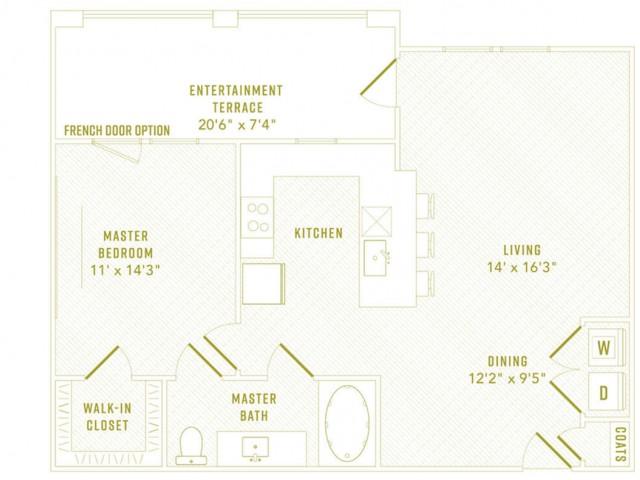 1 Bdrm Floor Plan   Apartments Rowlett Texas   The Towers at Bayside