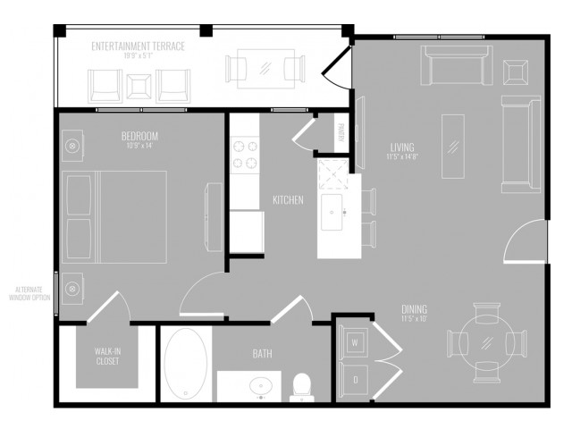 1 Bdrm Floor Plan | Apartments Rowlett Texas | The Mansions at Bayside