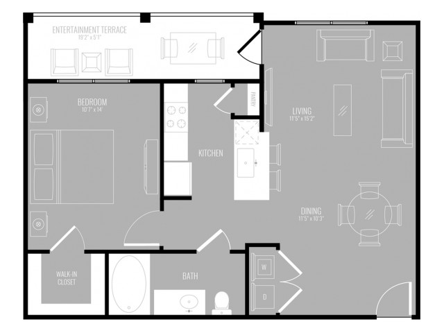 1 Bedroom Floor Plan | Apartments In Rowlett TX | The Mansions at Bayside