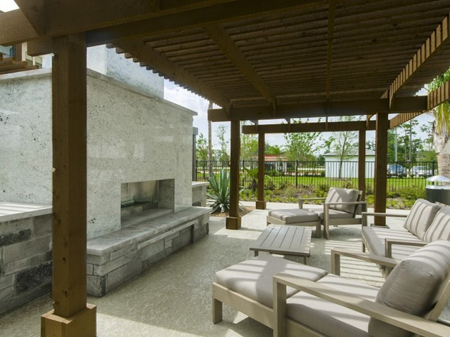 Trellis-Covered Outdoor Entertainment Kitchen & Conversational Fireplace Lounge