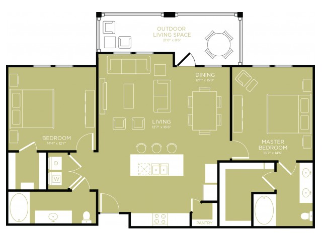 Floor Plan 15   Apartments Wylie TX   The Mansions at Wylie