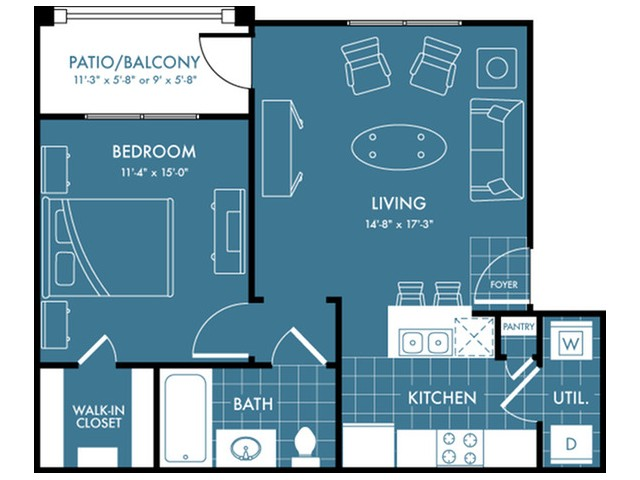 Floor Plan 1 | Magnolia Texas Apartments | The Estates Woodland